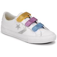 Skor Flickor Sneakers Converse STAR PLAYER 3V GLITTER TEXTILE OX Vit / Flerfärgad