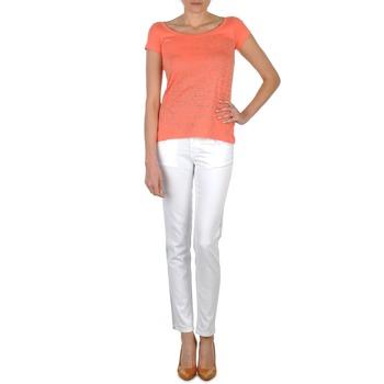 textil Dam Stuprörsjeans Calvin Klein Jeans JEAN BLANC BORDURE ARGENTEE Vit