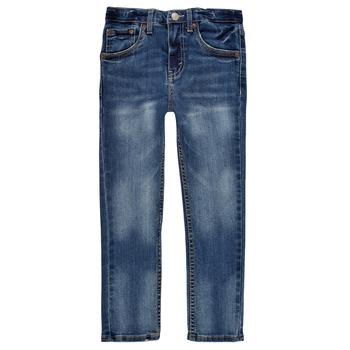 textil Pojkar Skinny Jeans Levi's 510 SKINNY FIT EVERYDAY PERFORMANCE JEANS Blå / Mörk