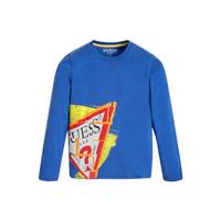 textil Pojkar Långärmade T-shirts Guess LISTIN Blå