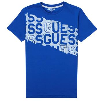 textil Pojkar T-shirts Guess LISTIN Blå