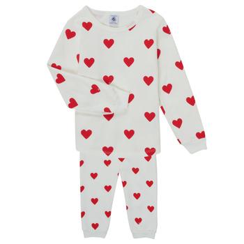 textil Flickor Pyjamas/nattlinne Petit Bateau CASSANDRE Vit / Röd
