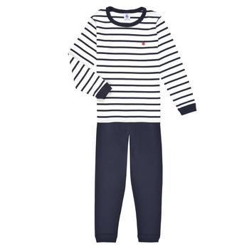 textil Pojkar Pyjamas/nattlinne Petit Bateau TECHI Vit / Blå