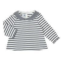 textil Flickor Långärmade T-shirts Petit Bateau HOLINU Vit / Blå