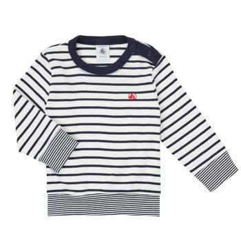 textil Pojkar Långärmade T-shirts Petit Bateau IGRAE Vit / Blå