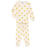 textil Flickor Pyjamas/nattlinne Petit Bateau LERINU Vit / Gul