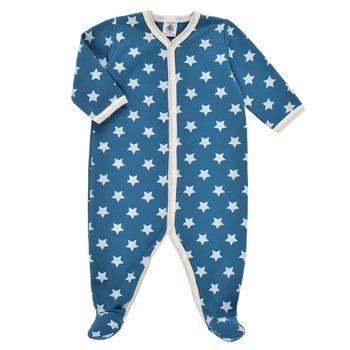 textil Pojkar Pyjamas/nattlinne Petit Bateau SOLARIE Blå / Vit