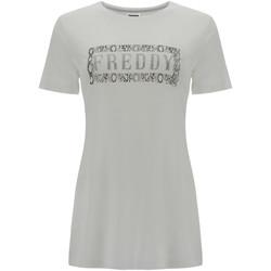 textil Dam T-shirts Freddy S1WALT2 Vit