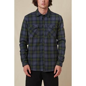 textil Herr Långärmade skjortor Globe Chemise  Wanderer Shacket bleu/vert