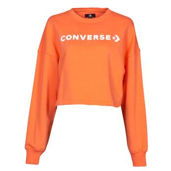 textil Dam Sweatshirts Converse EMBROIDERED WORDMARK CREW Orange