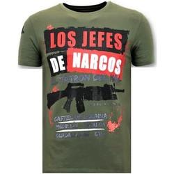 textil Herr T-shirts Lf Rhinestone Los Jefes The Narcos G Grön