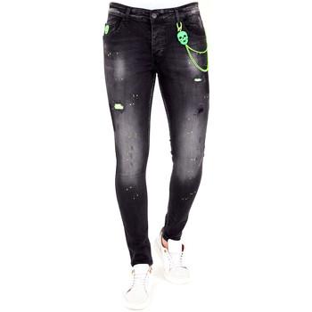 textil Herr Stuprörsjeans Lf Avsmalnande Jeans Färgstänk Svart