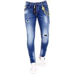 textil Herr Stuprörsjeans Lf Slitna Jeans Färgstänk  Bla Blå