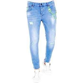 textil Herr Stuprörsjeans Lf Slim Fit Jeans Slitning  Bla Blå