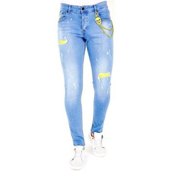textil Herr Stuprörsjeans Lf Jeans Hål  Bla Blå