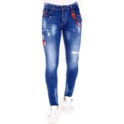 textil Herr Stuprörsjeans Lf Jeans Met Gerafeld Effect  Bla Blå