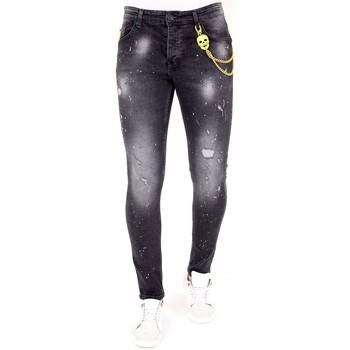 textil Herr Stuprörsjeans Lf Jeans Sliten Effekt Svart
