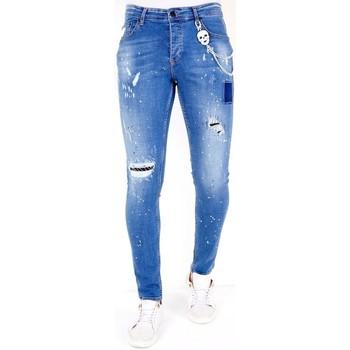 textil Herr Stuprörsjeans Lf Jeans Färgstänk  Bla Blå