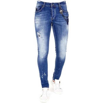 textil Herr Stuprörsjeans Lf Jeans Blekt Färgstänk  Bla Blå