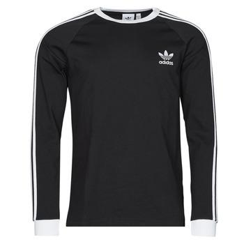 textil Herr Långärmade T-shirts adidas Originals 3-STRIPES LS T Svart