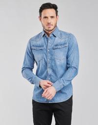 textil Herr Långärmade skjortor G-Star Raw 3301 SLIM SHIRT LS Blå