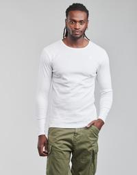 textil Herr Långärmade T-shirts G-Star Raw BASE R T LS 1-PACK Vit