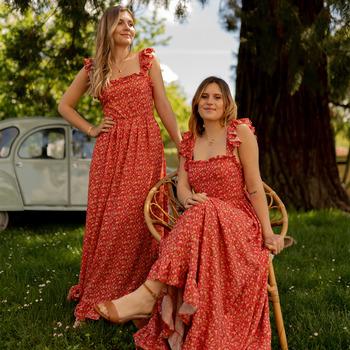 textil Dam Långklänningar Céleste AURORE Röd