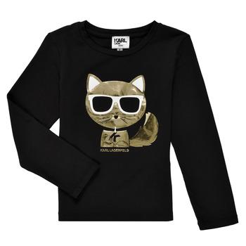 textil Flickor Långärmade T-shirts Karl Lagerfeld AMETHYSTE Svart