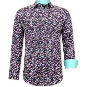 textil Herr Långärmade skjortor Tony Backer Mönstrad Skjorta Svart
