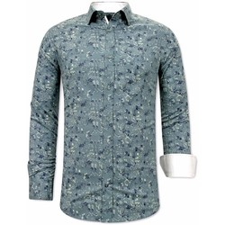 textil Herr Långärmade skjortor Tony Backer Skjorta Blommönster Grön