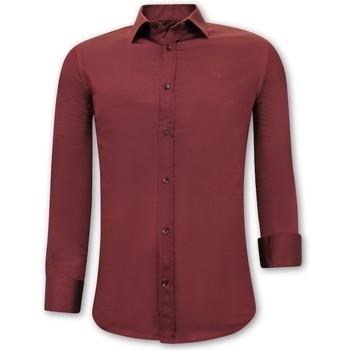 textil Herr Långärmade skjortor Tony Backer Iga Slim Fit Bordeaux