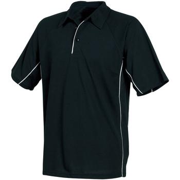 textil Herr Kortärmade pikétröjor Tombo Teamsport TL065 Svart/svart/vita rör