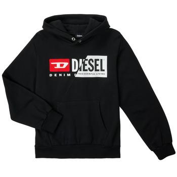 textil Barn Sweatshirts Diesel SGIRKHOODCUTYX OVER Svart