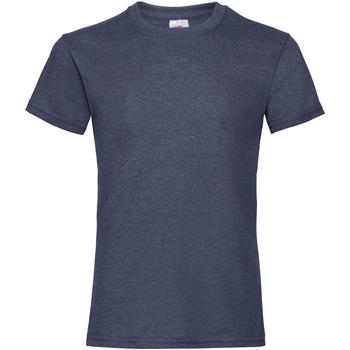 textil Flickor T-shirts Fruit Of The Loom 61005 Vintage Heather Navy
