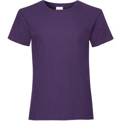 textil Flickor T-shirts Fruit Of The Loom 61005 Lila