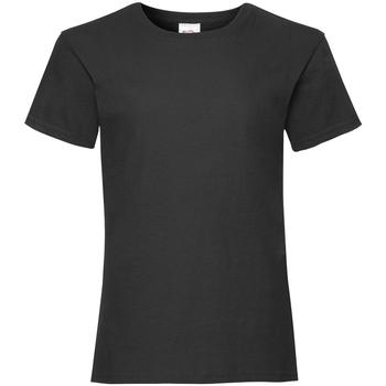 textil Flickor T-shirts Fruit Of The Loom 61005 Svart