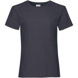 textil Flickor T-shirts Fruit Of The Loom 61005 Djupt marinblått