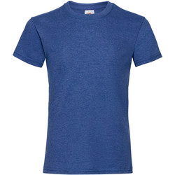 textil Flickor T-shirts Fruit Of The Loom 61005 Retro Heather Royal