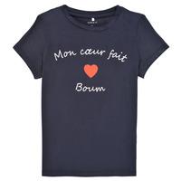 textil Flickor T-shirts Name it NKFKLORA SS TOP Marin