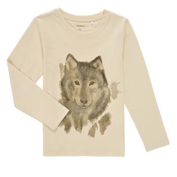 textil Pojkar Långärmade T-shirts Name it NMMKEVIN LS TOP Beige