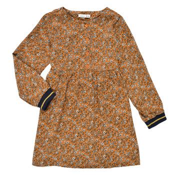 textil Flickor Korta klänningar Name it NKFKRINFRA LS DRESS Orange