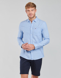 textil Herr Långärmade skjortor Tommy Jeans TJM LINEN BLEND SHIRT Blå