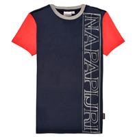 textil Pojkar T-shirts Napapijri SAOBAB Marin / Röd