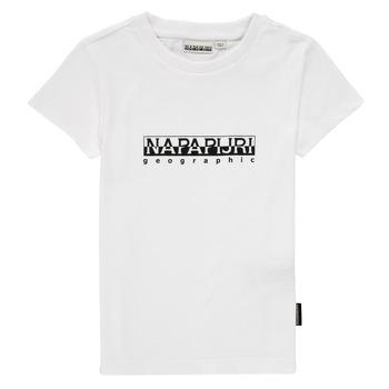 textil Pojkar T-shirts Napapijri S-BOX SS Vit