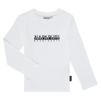 textil Pojkar Långärmade T-shirts Napapijri S-BOX LS Vit