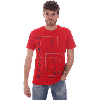 textil Herr T-shirts Navigare NV31109 Röd