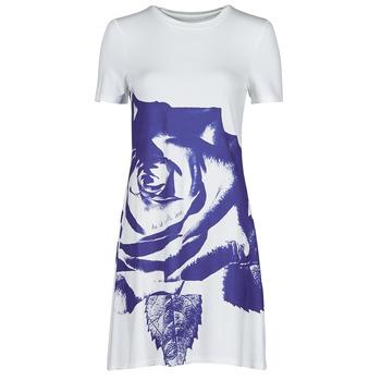textil Dam Korta klänningar Desigual WASHINTONG Vit / Blå