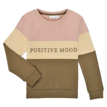 textil Flickor Sweatshirts Name it NKFLIBEL LS SWEAT Beige / Rosa / Kaki