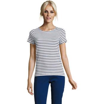 textil Dam T-shirts Sols Camiseta de mujer a rayas Azul
