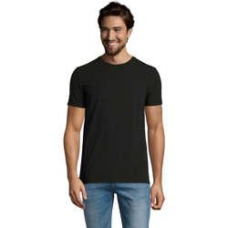 textil Herr T-shirts Sols Camiserta de hombre de cuello redondo Negro